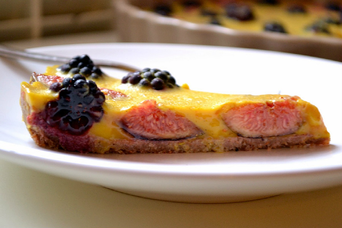 Saffron Custard Tart With Figs and Blackberries [Vegan]