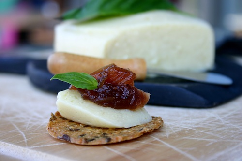 Gourmet Dairy Free Cheese on cracker with jam