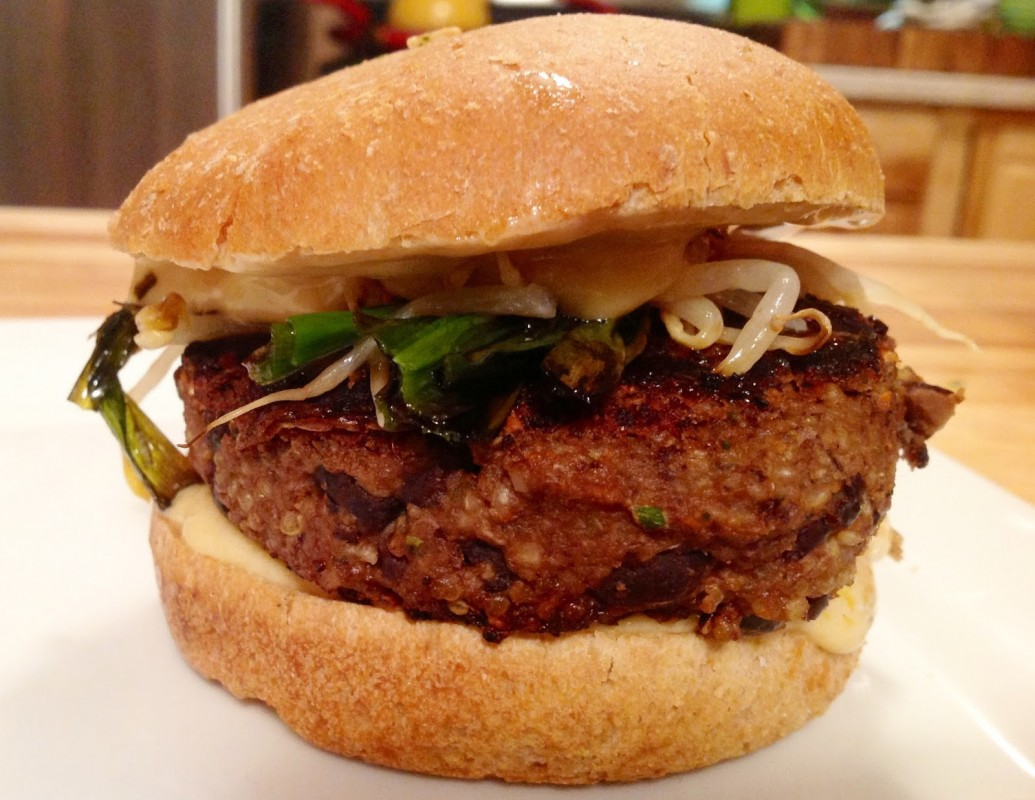 Hoisin Vegan Black Bean Burger with Spicy Sesame Sauce
