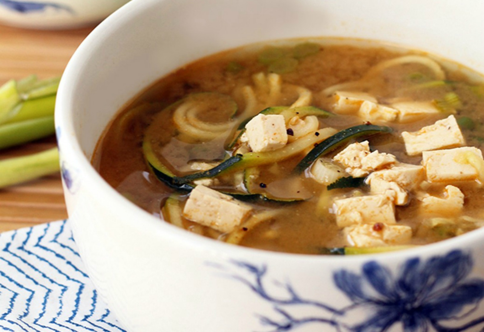 miso green tea, ginger, and tofu soup
