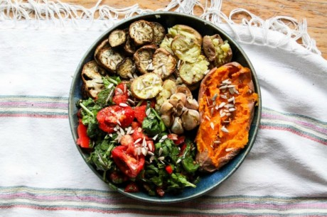 Roasted veggies with buttery garlic and spinach salad