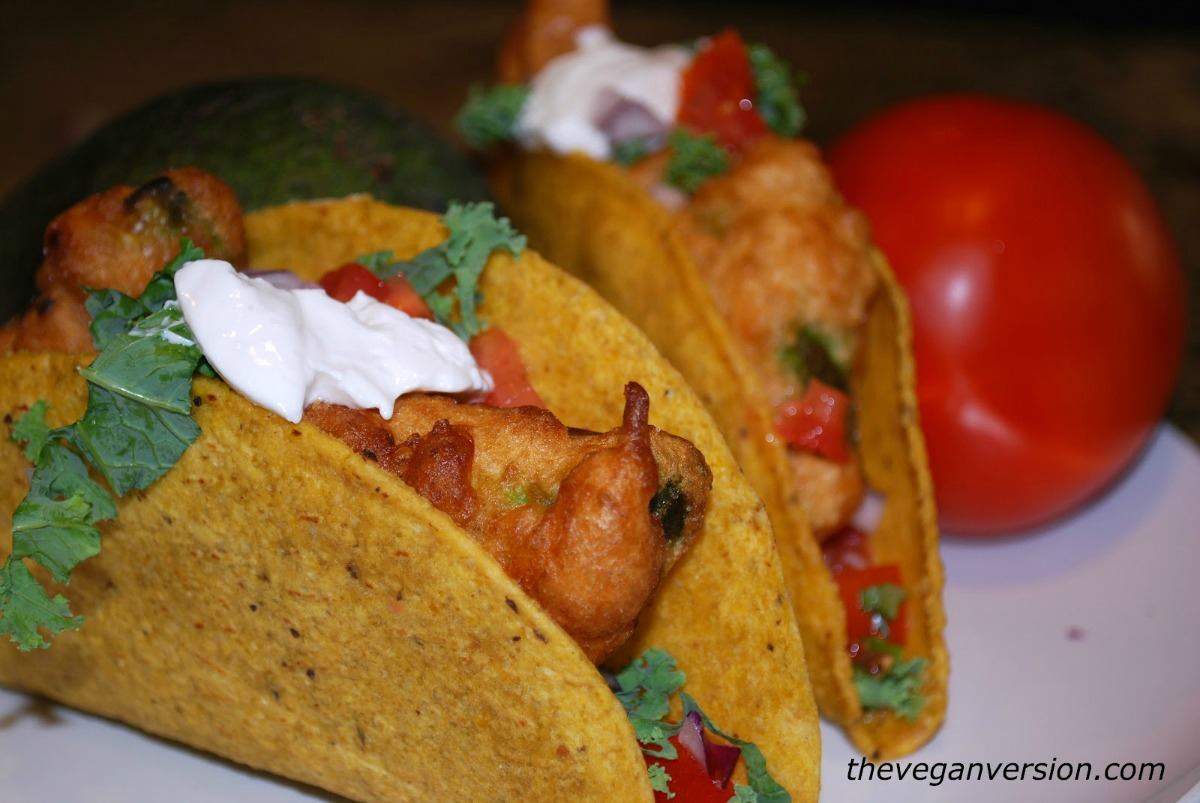 Beer Battered Avocado Tacos [Vegan]