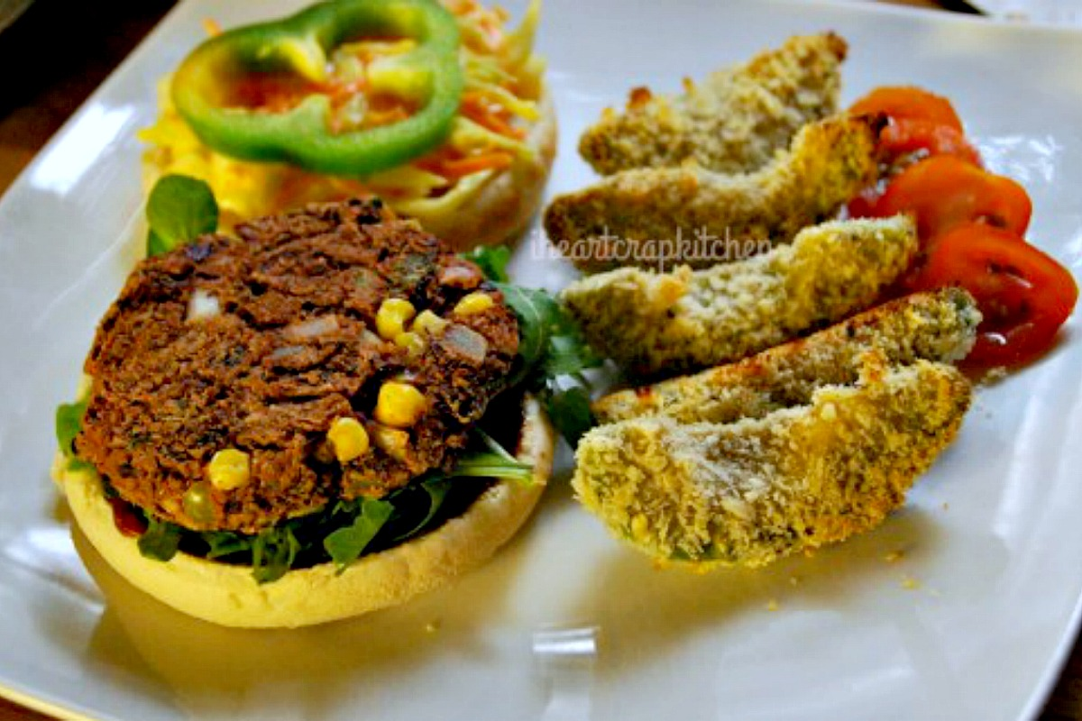 Mexican Bean Burger With Avocado Fries