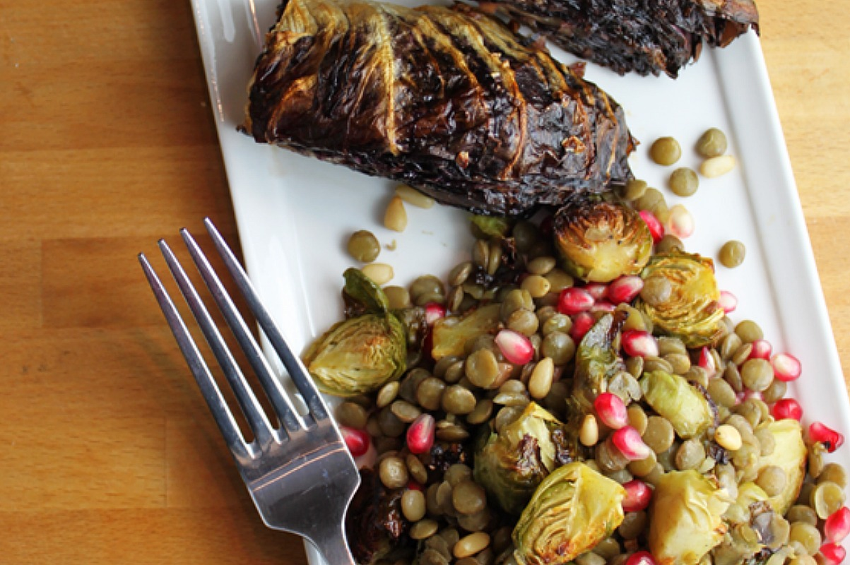 Warm Lentil and Brussels Sprout Salad With Roasted Radicchio Wedges [Vegan, Gluten-Free]