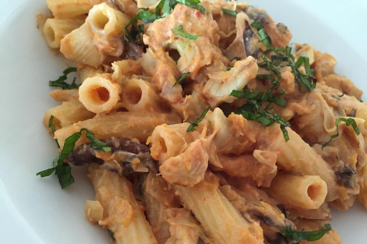 artichoke and shiitake pasta