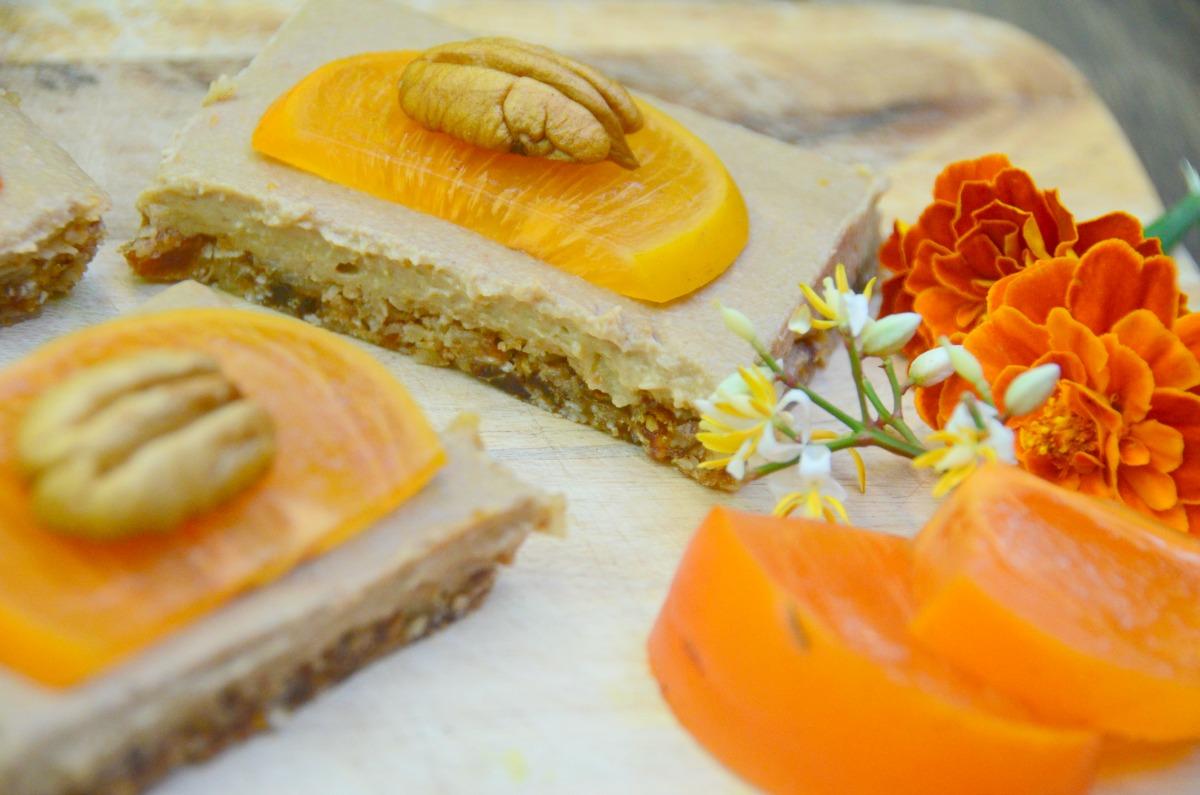 Persimmon and Turmeric Cheesecake Slice [Vegan, Gluten-Free]