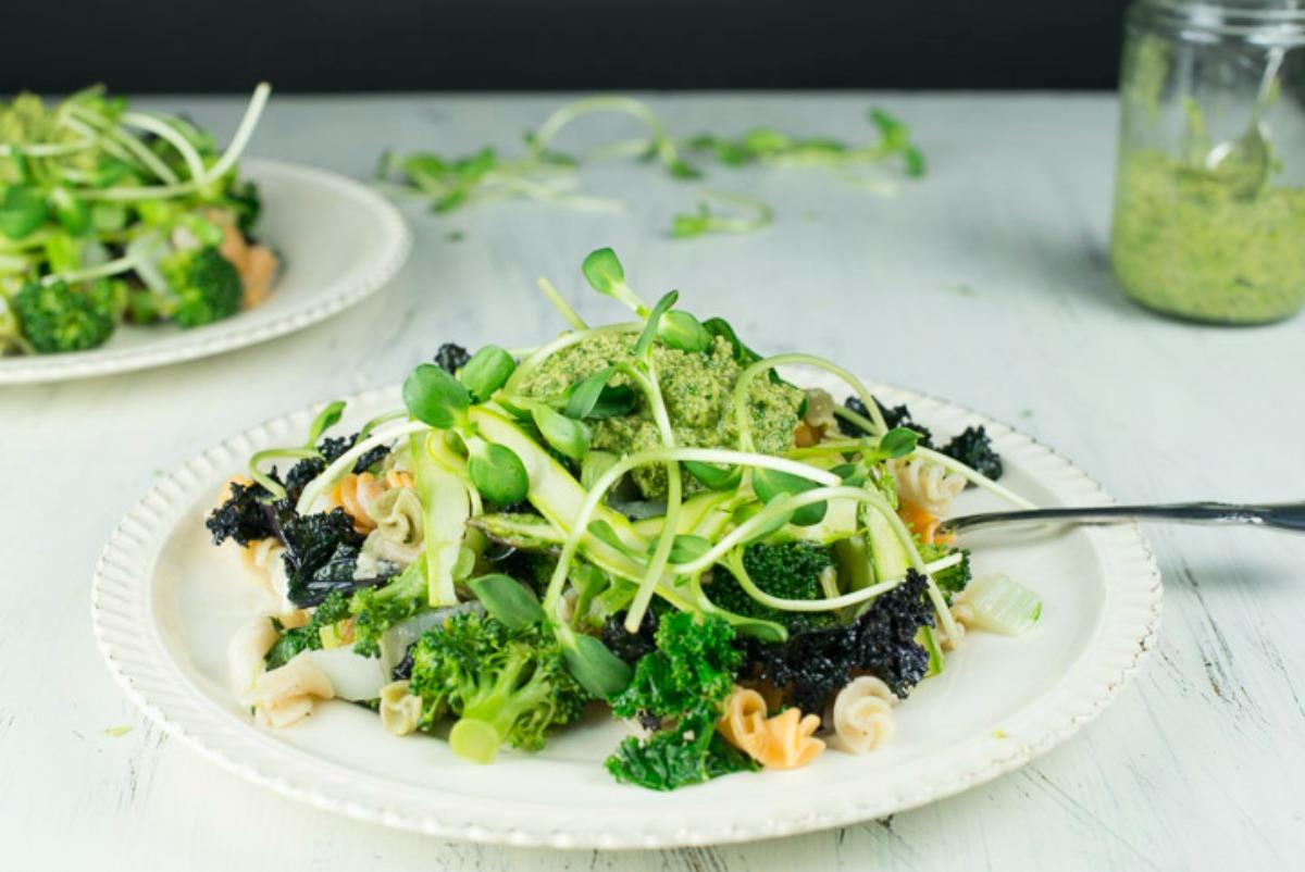 Pasta With Greens and Pesto [Vegan, Gluten-Free]