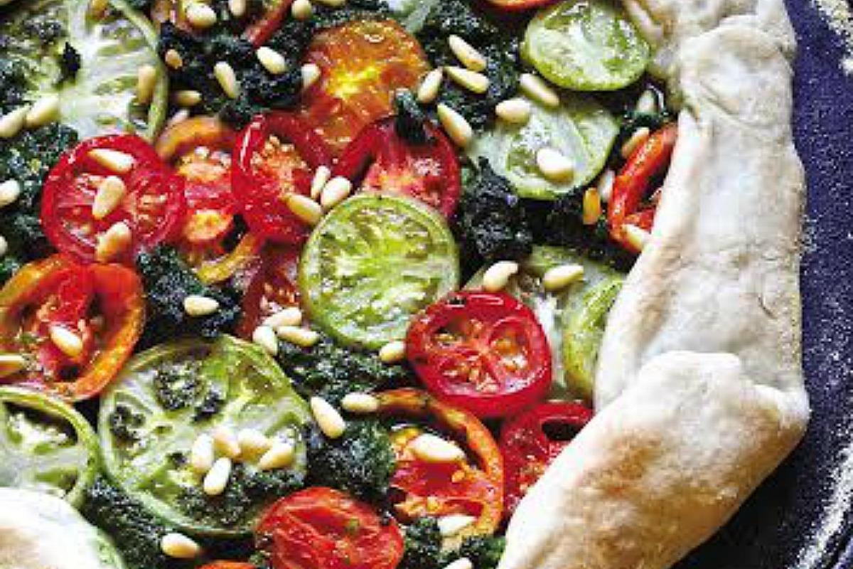 Rustic Pesto and Heirloom Tomato Tart [Vegan]