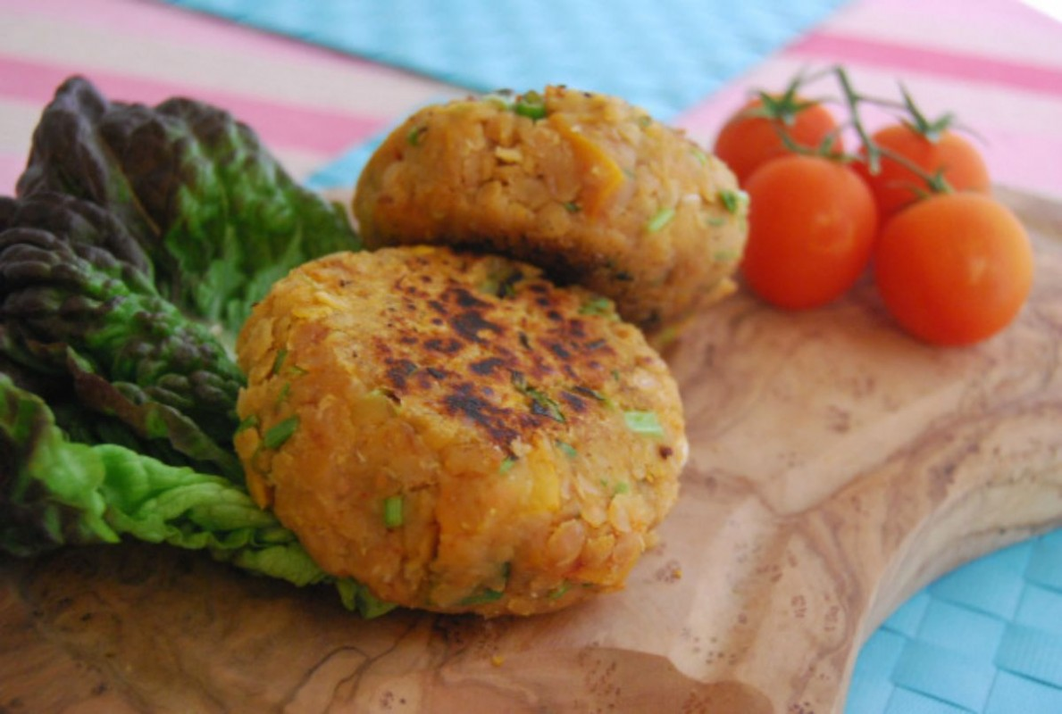 Vegan Red Lentil and Butternut Squash Burgers