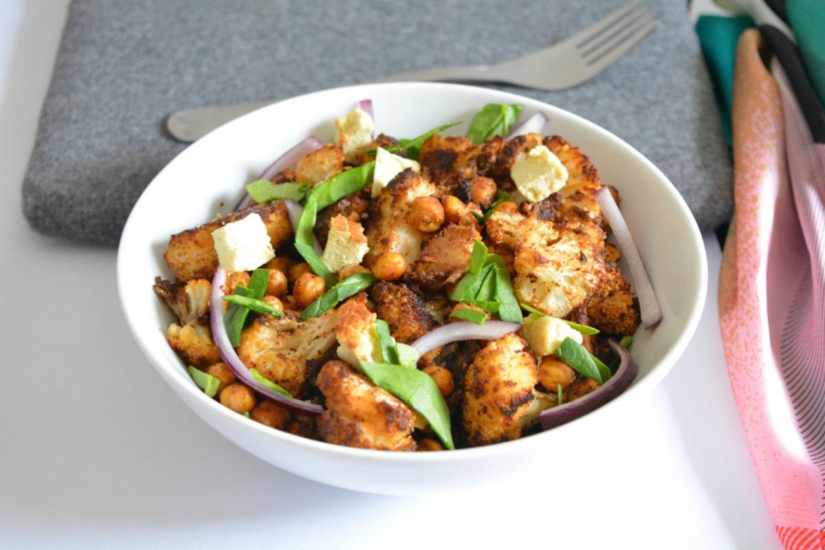 Lebanese Spiced- Roasted Cauliflower Chickpea Salad [Vegan, Gluten-Free]
