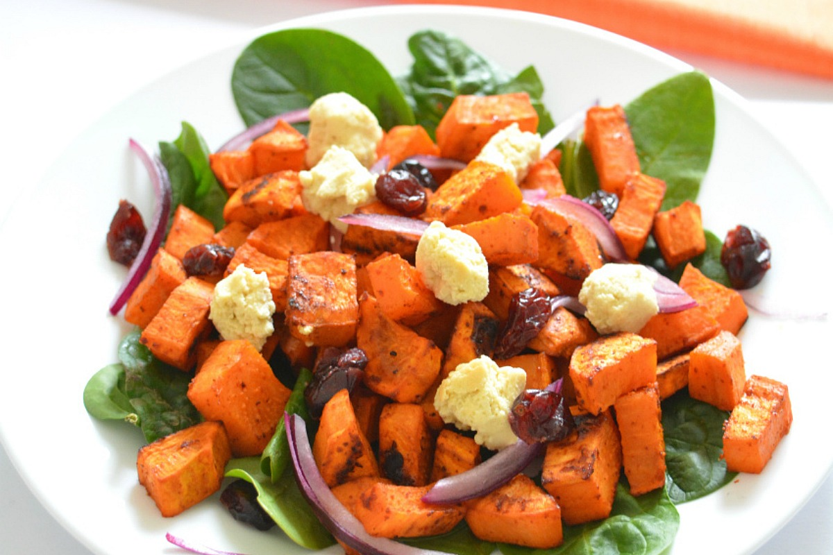 Roasted Sweet Potato Salad With Almond Feta