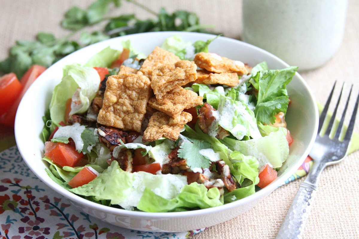 BLT Salad With Creamy Ranch and Chickpea Croutons