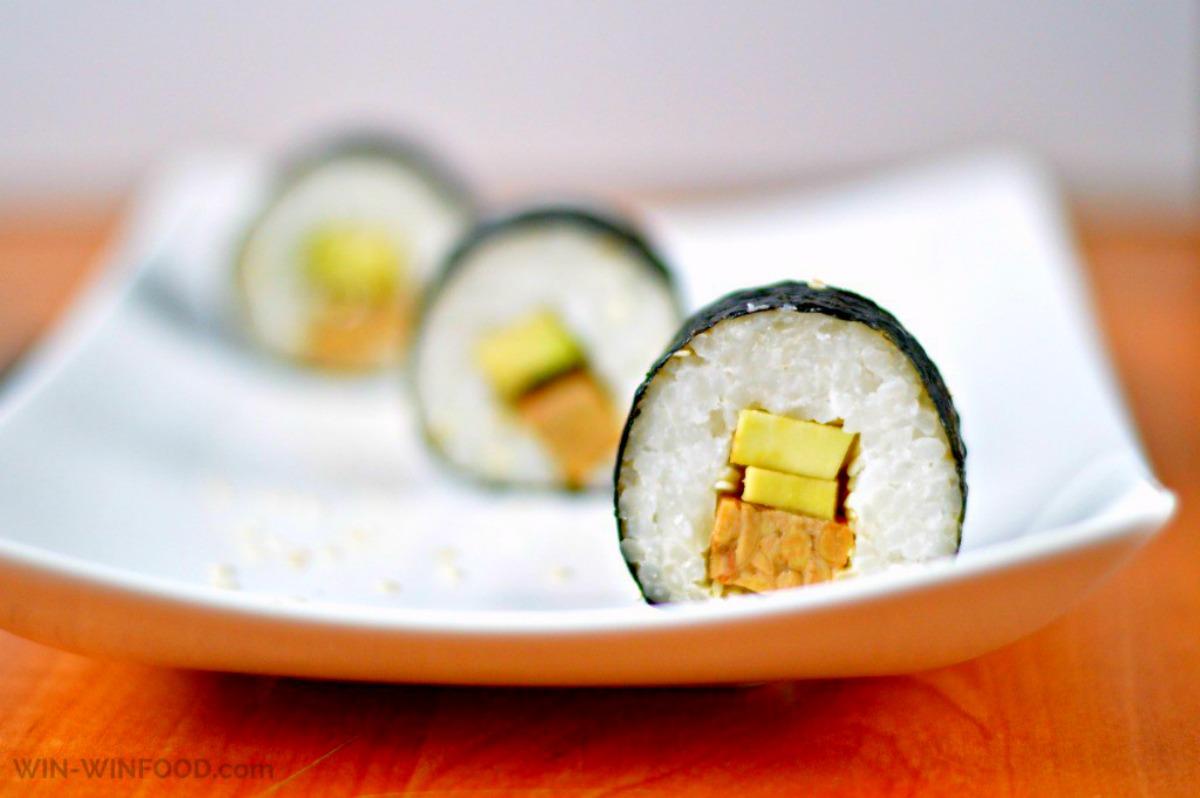 Veggie Sushi With Smoked Tempeh and Avocado [Vegan, Gluten-Free]