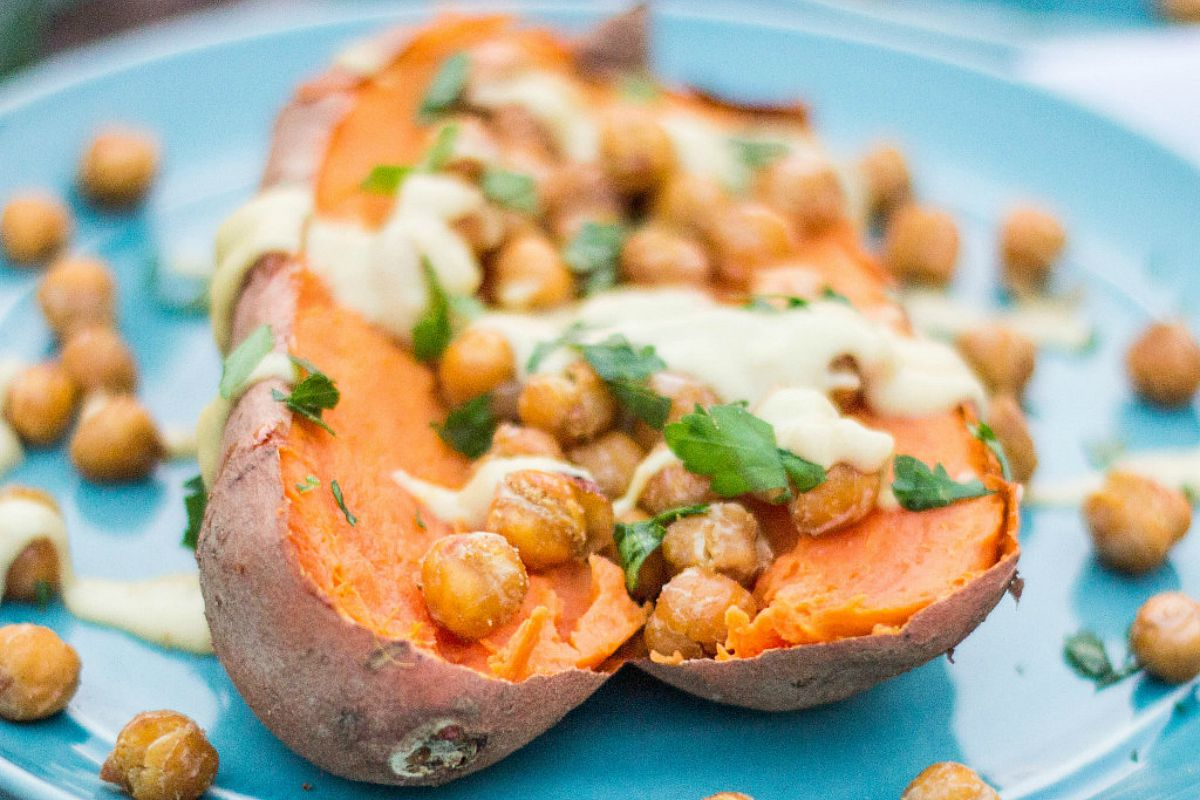 Roasted Chickpea Stuffed Sweet Potatoes With Creamy Tahini Sauce [Vegan, Gluten-Free]