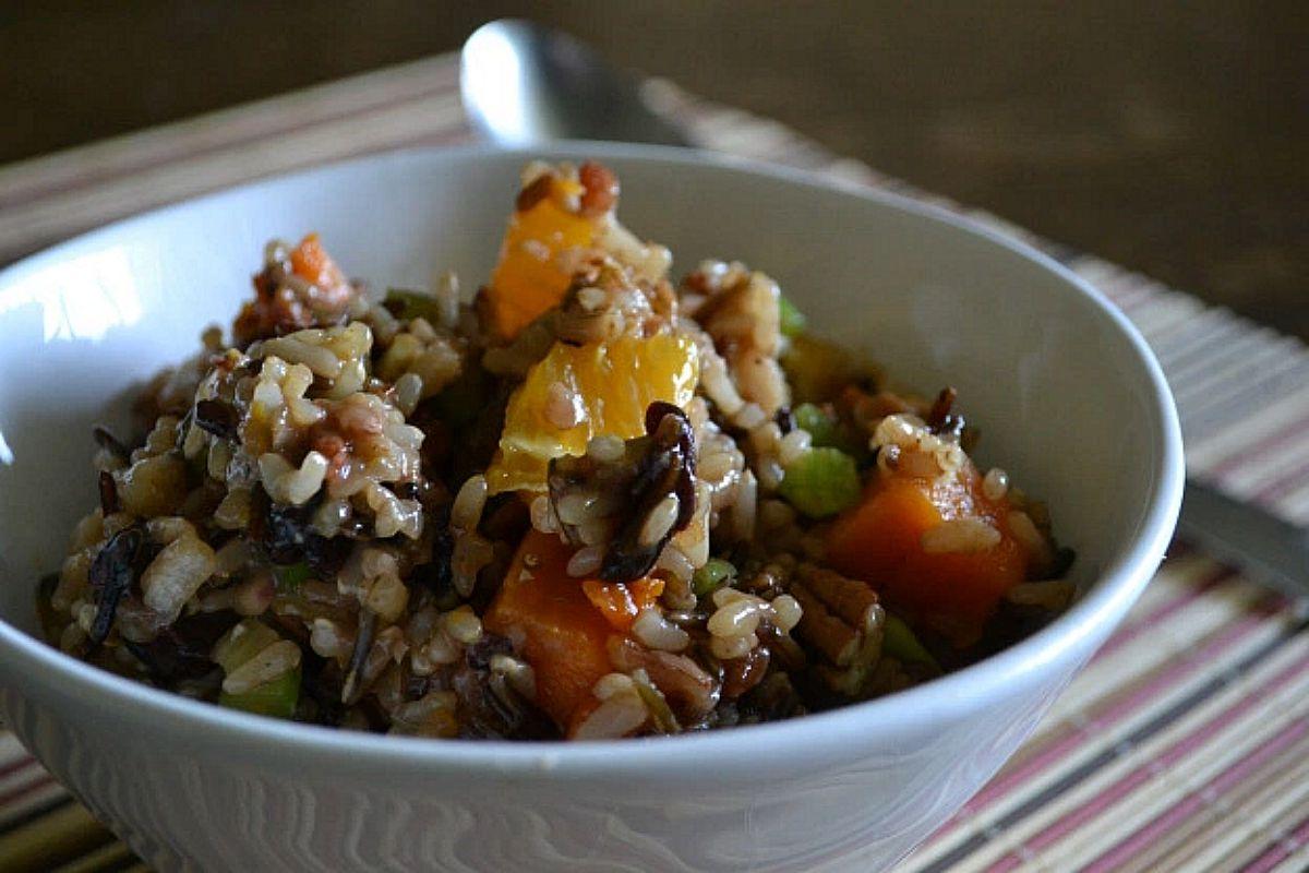 Wild Rice Salad With Sweet Potato, Orange, Cherries and Toasted Pecans [Vegan, Gluten-Free]