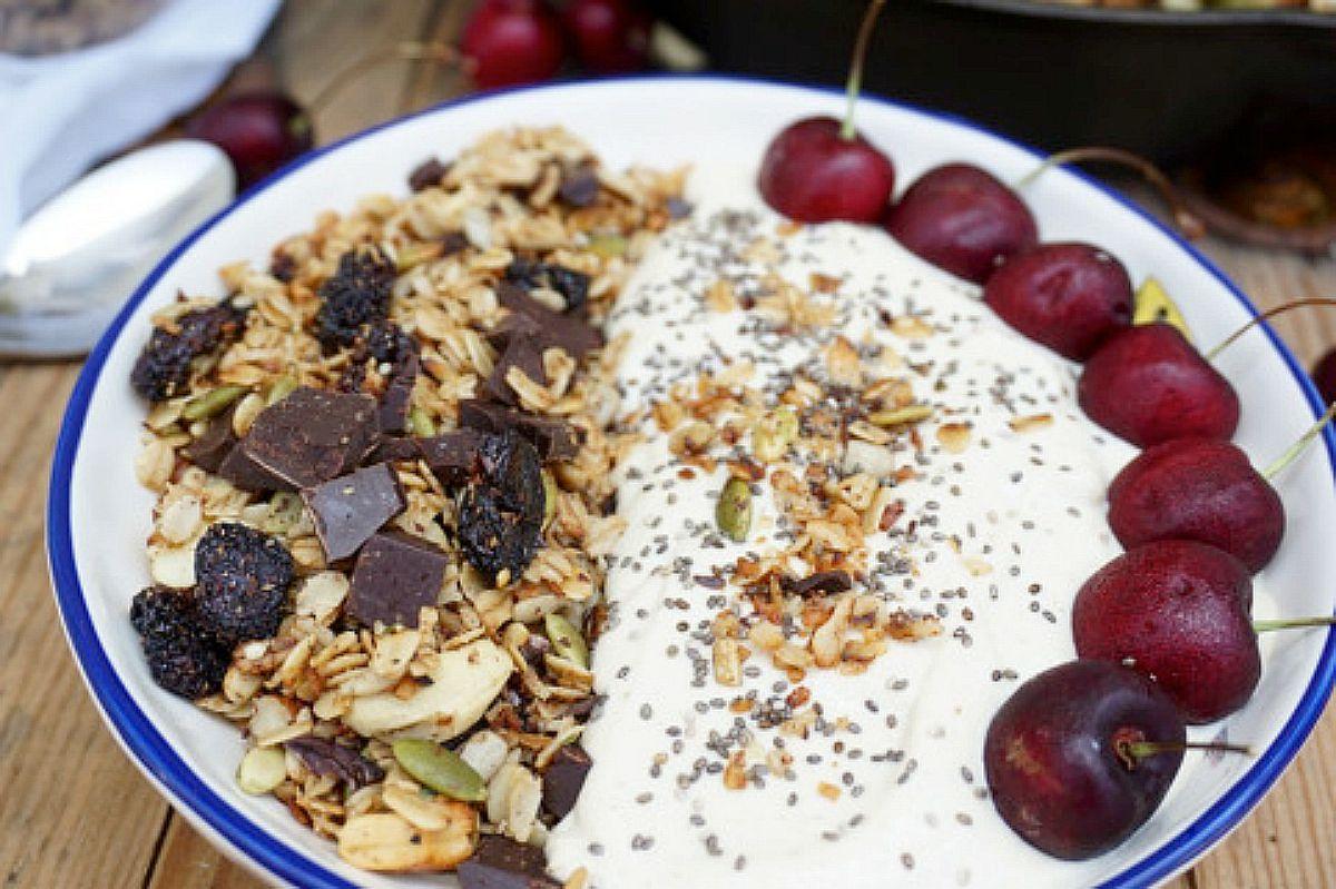 Cherry Chocolate Stovetop Granola With Toasted Cashew Banana dairy-free Yogurt