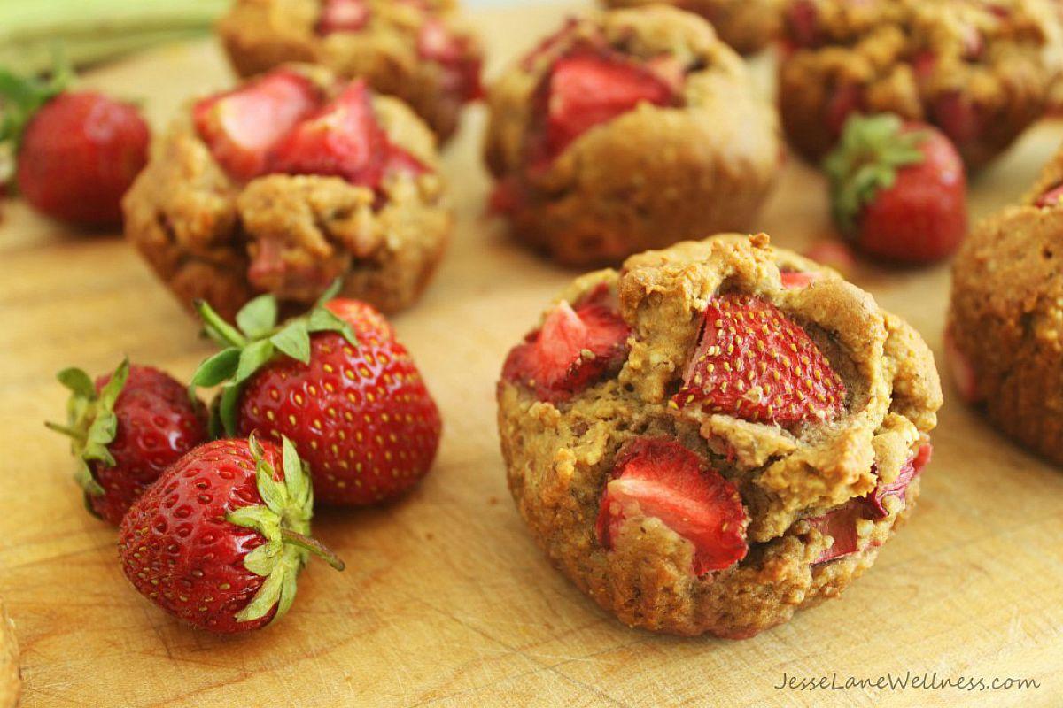 Strawberry Rhubarb Muffins [Vegan, Gluten-Free]