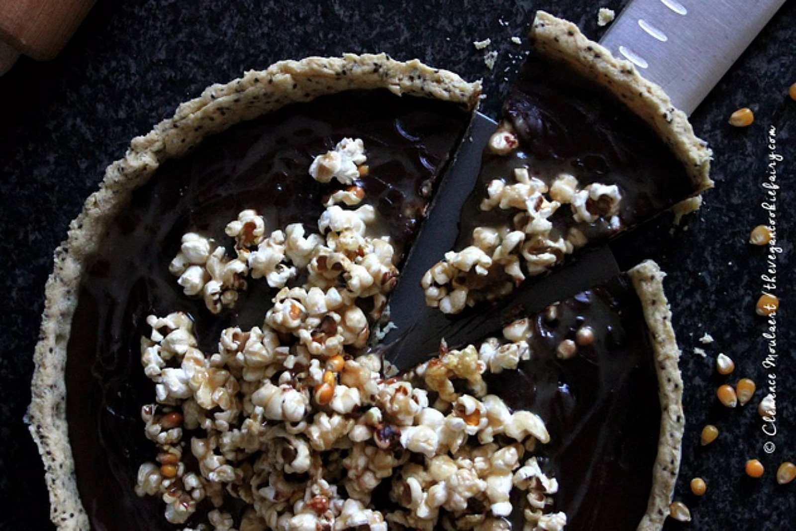 Salted Caramel Popcorn and Chocolate Tart [Vegan]