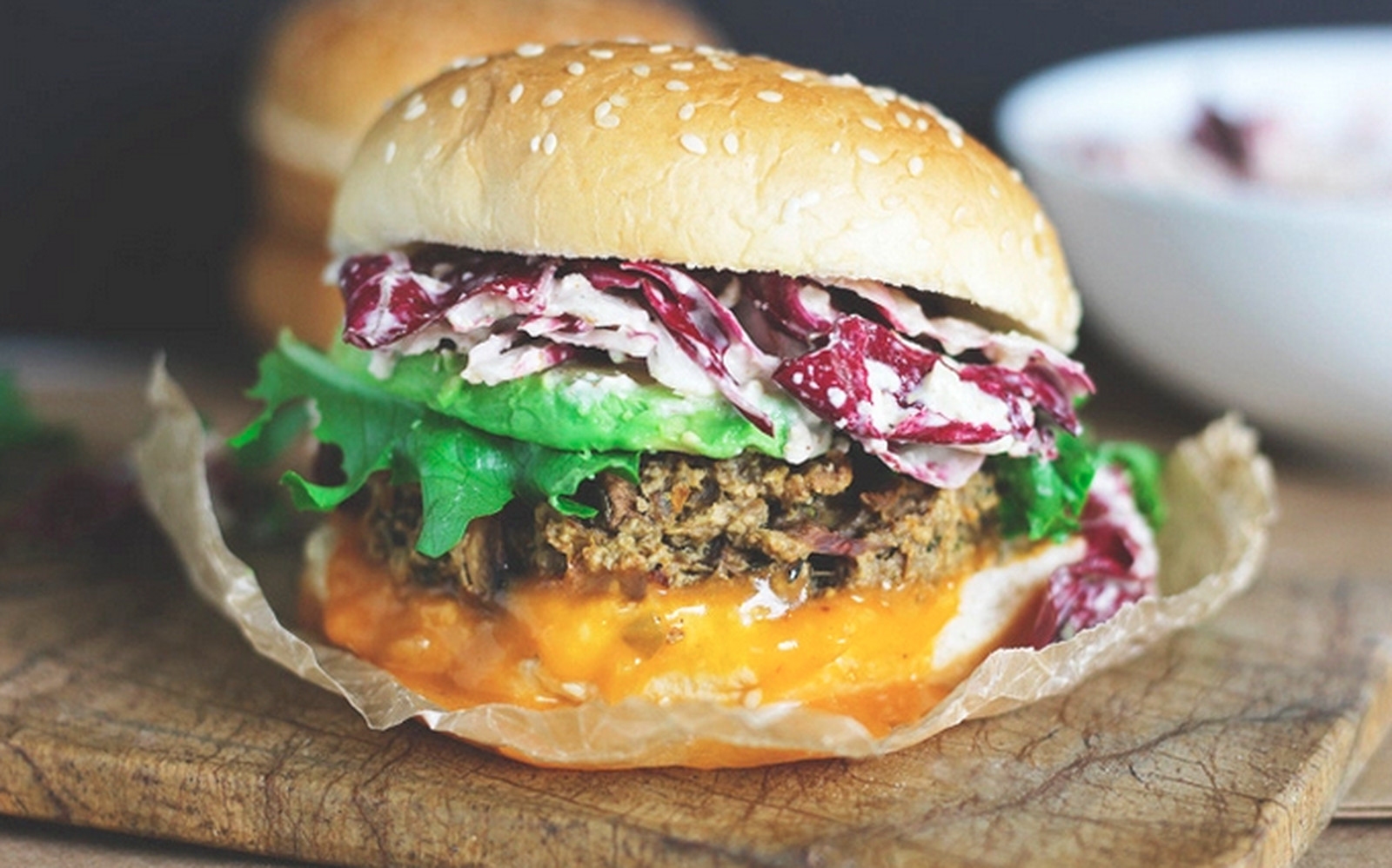 Radicchio slaw in a vegan burger