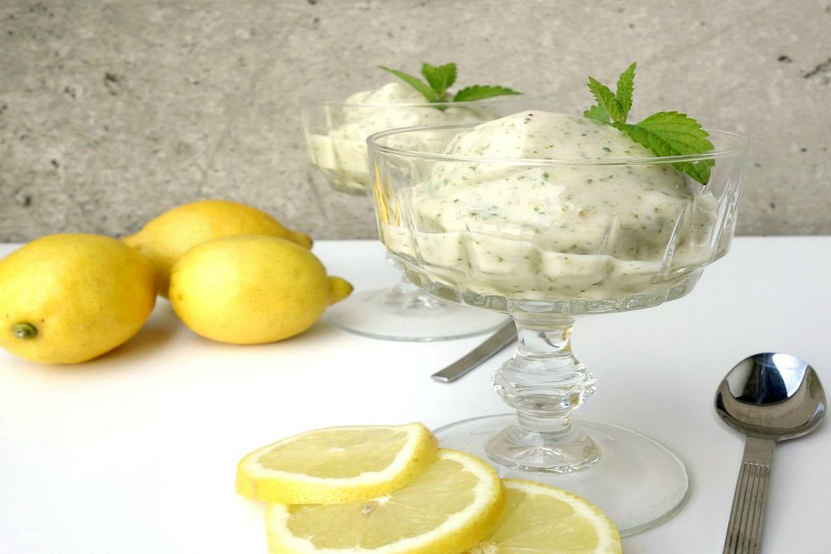 Simple No-Churn Lemon Balm Ice Cream [Vegan]