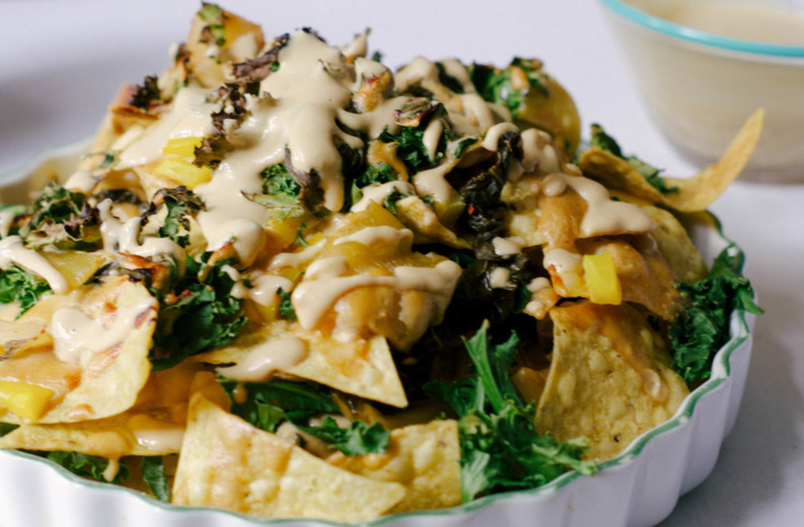 Miso Kimchi Nachos With Cashew Cheese [Vegan, Gluten-Free]
