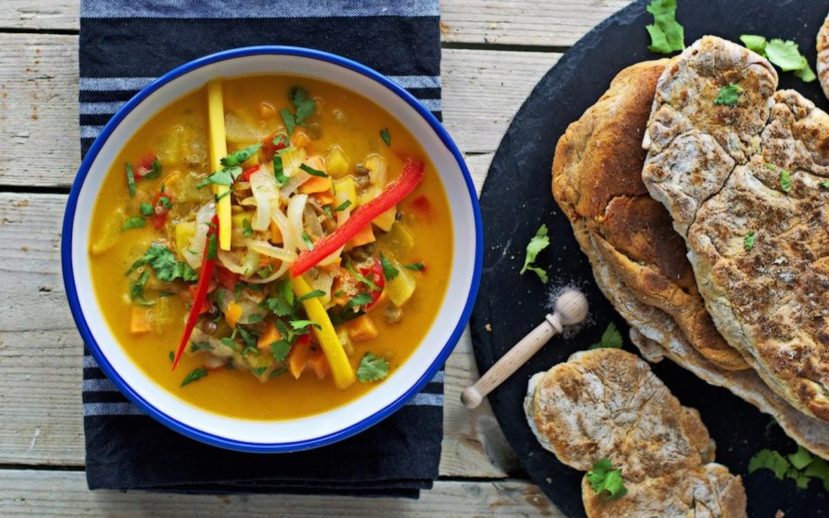 Coconut-Mango Stew with Homemade Naan Bread [Vegan, Gluten-Free]