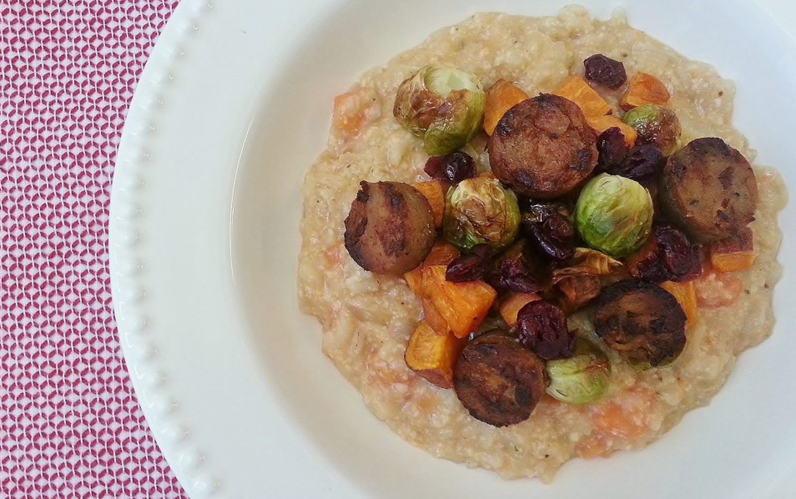 Sweet Potato Risotto With Sausage, Brussels Sprouts, and Cranberries [Vegan, Gluten-Free]