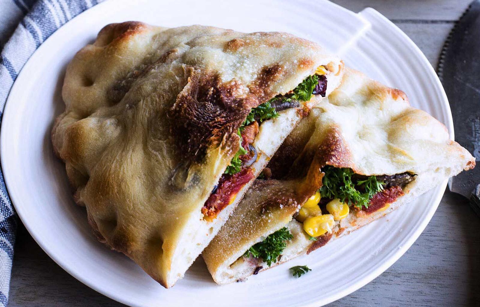 Hummus and Veggie-Stuffed Calzone [Vegan]
