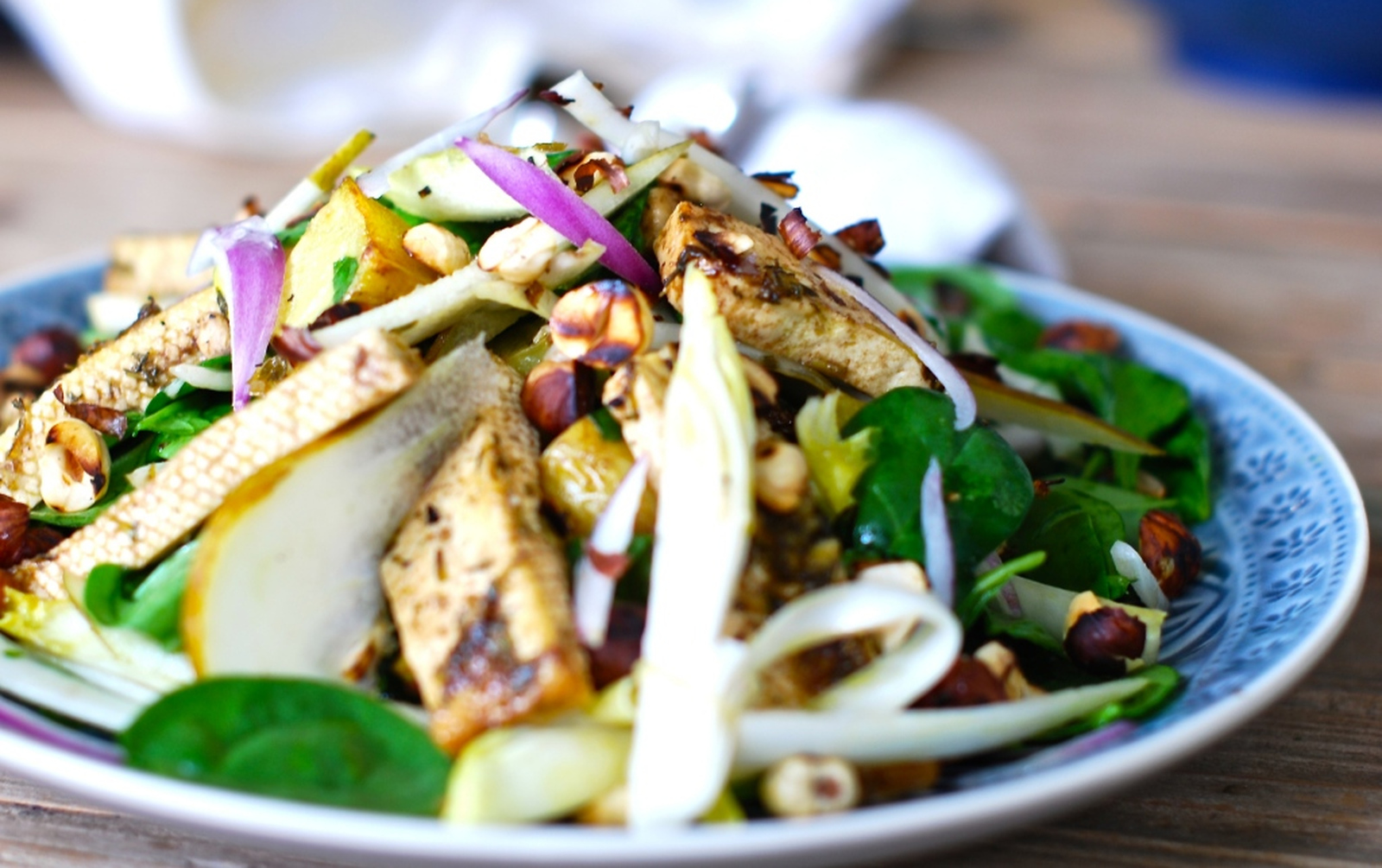 Warm Salad With Marinated Tofu, Potatoes, and Hazelnuts [Vegan, Gluten-Free]