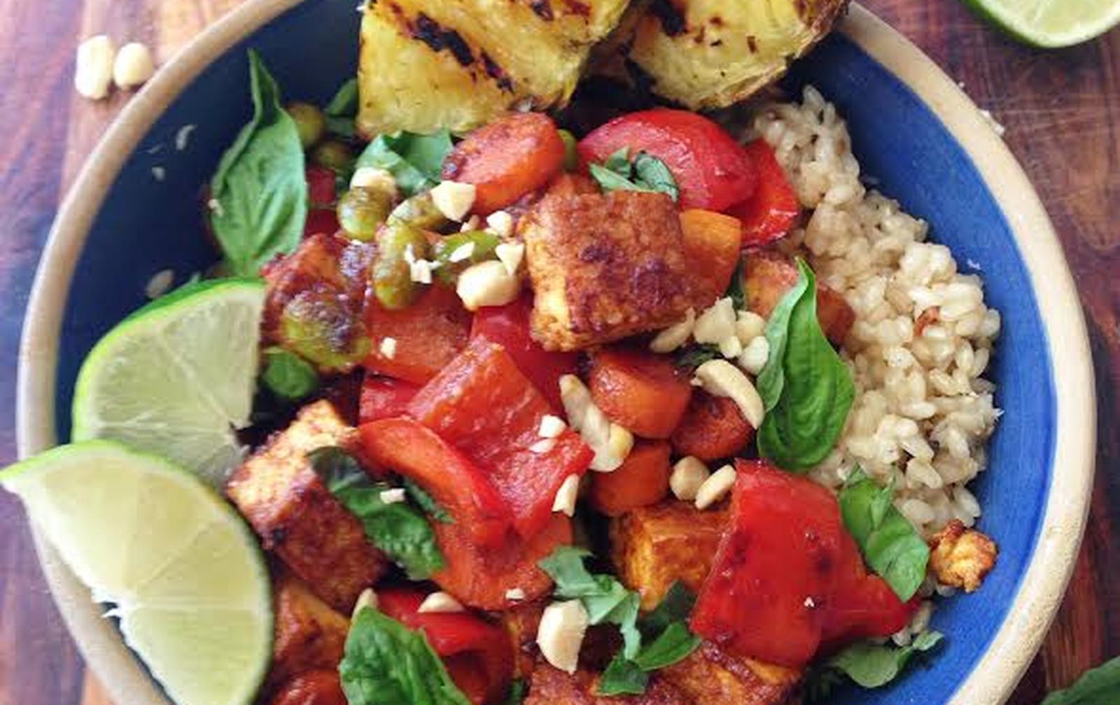 Sweet Chili Peanut Tofu, Vegetable, and Grilled Pineapple Stir-Fry [Vegan, Gluten-Free]