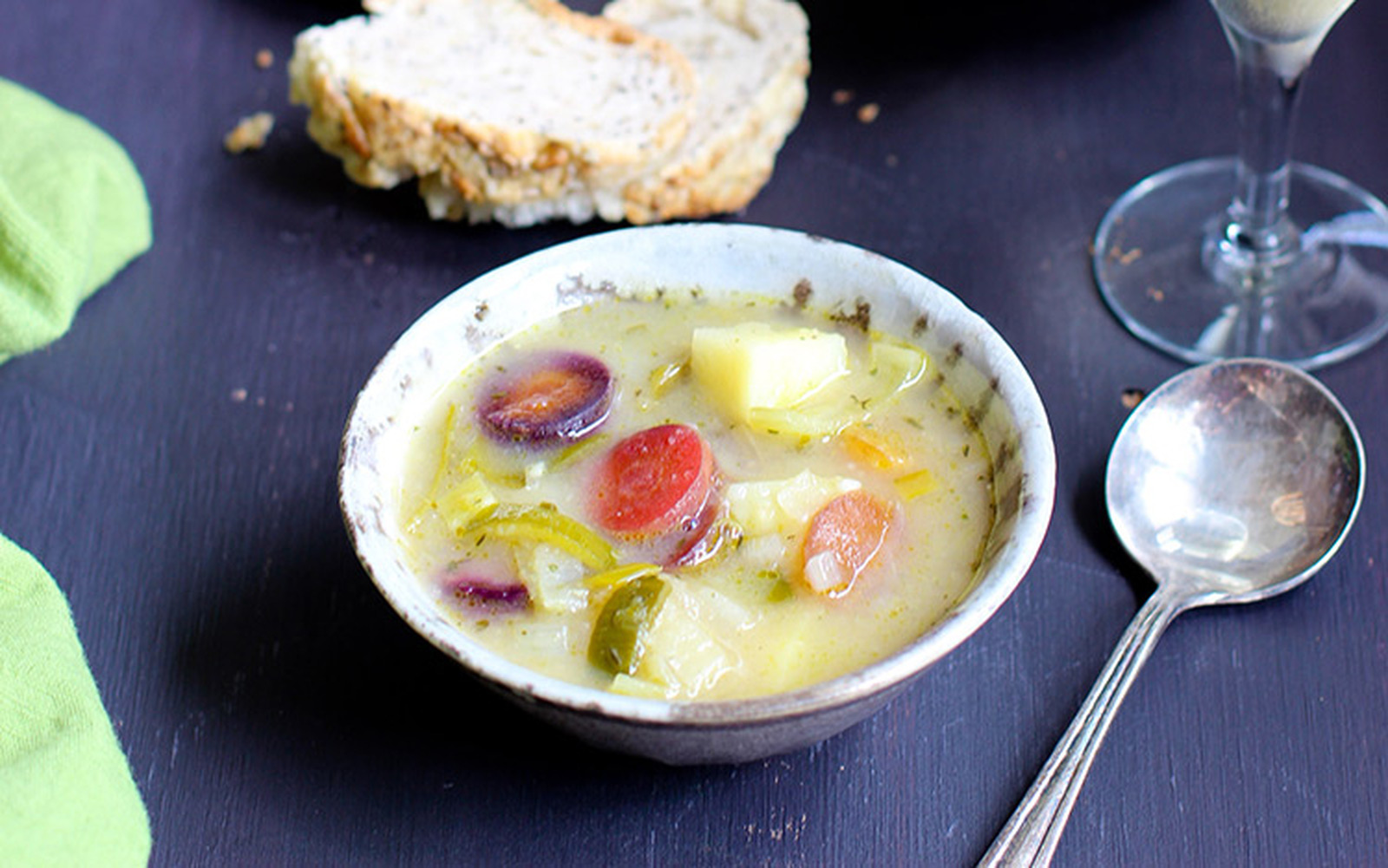 Potato Leek Soup With Caramelized Tri-Color Carrots [Vegan, Gluten-Free]