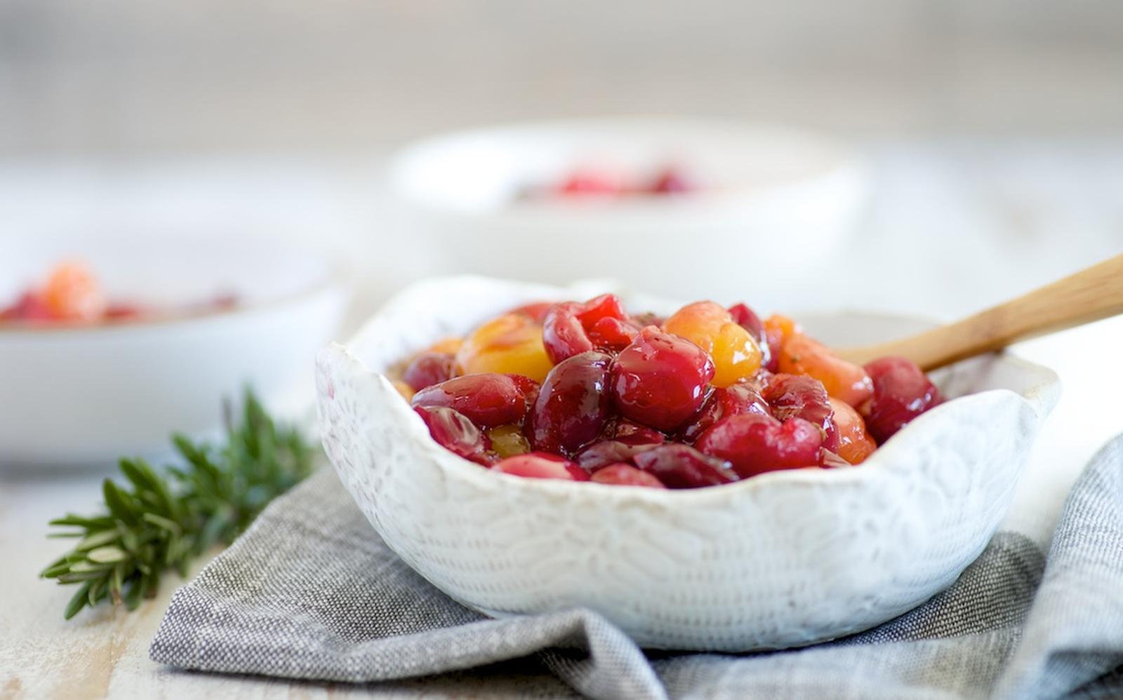 Vegan Stewed Cherries With Rosemary