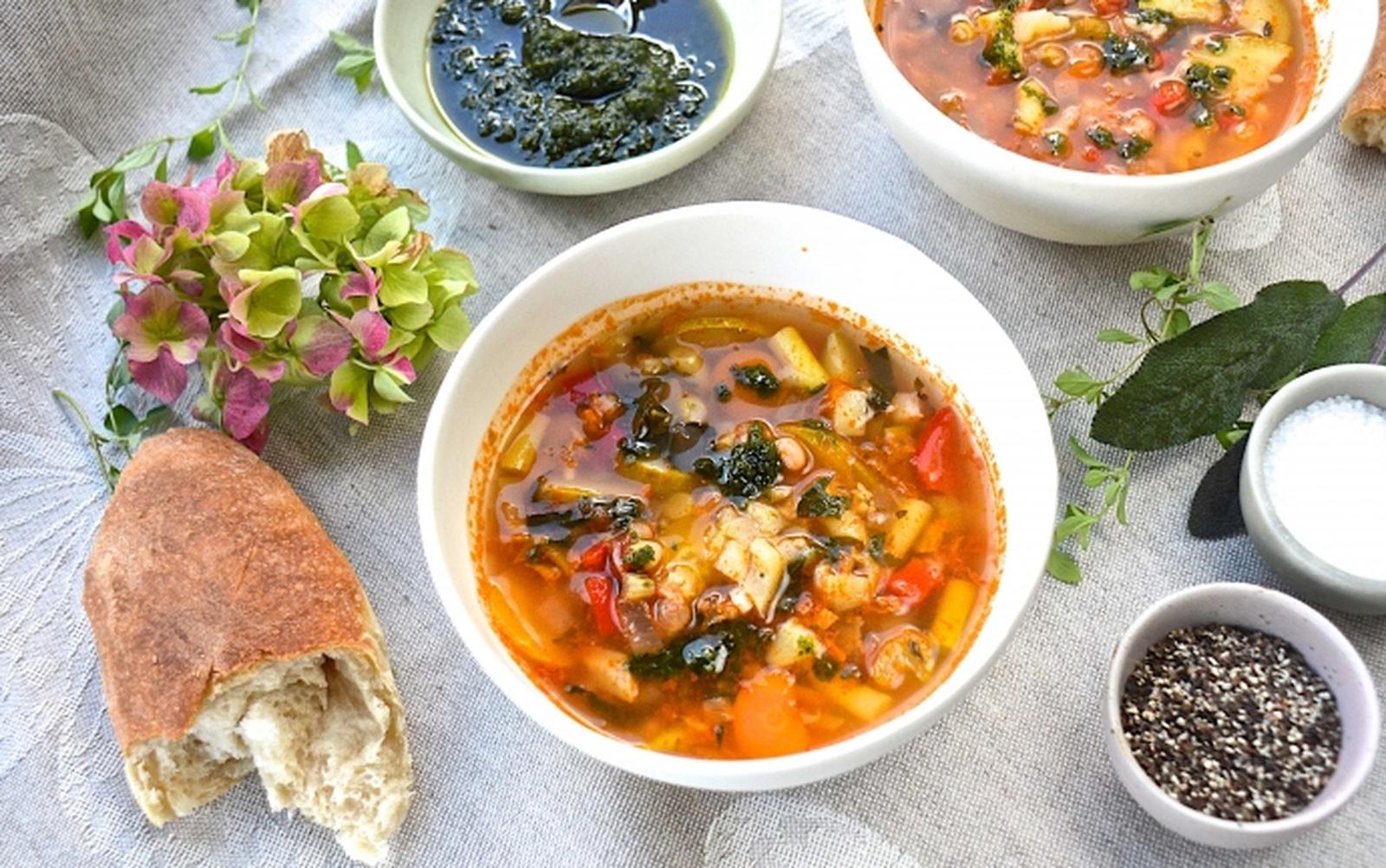Autumn Vegetable Soup With Parsley Pesto [Vegan, Gluten-Free]