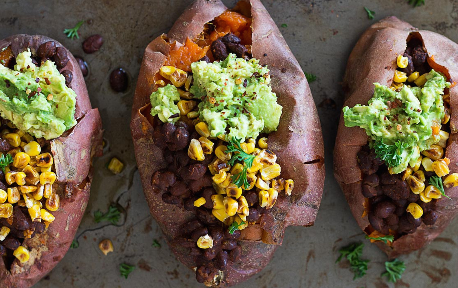 Charred Corn and Black Bean Stuffed Sweet Potatoes [Vegan, Gluten-Free]