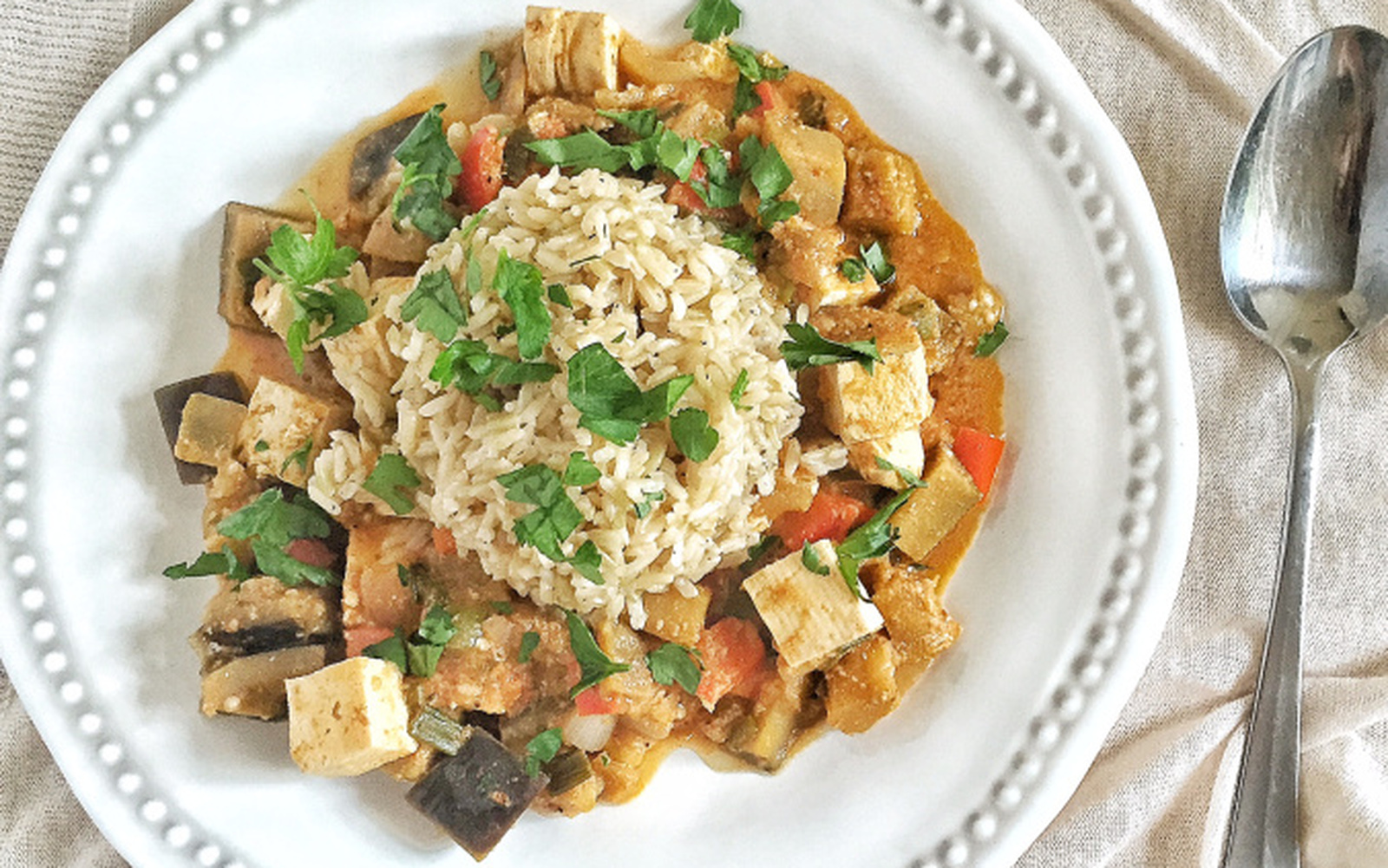 Vegan and Gluten-free Creole-Style Eggplant and Tofu Étouffée
