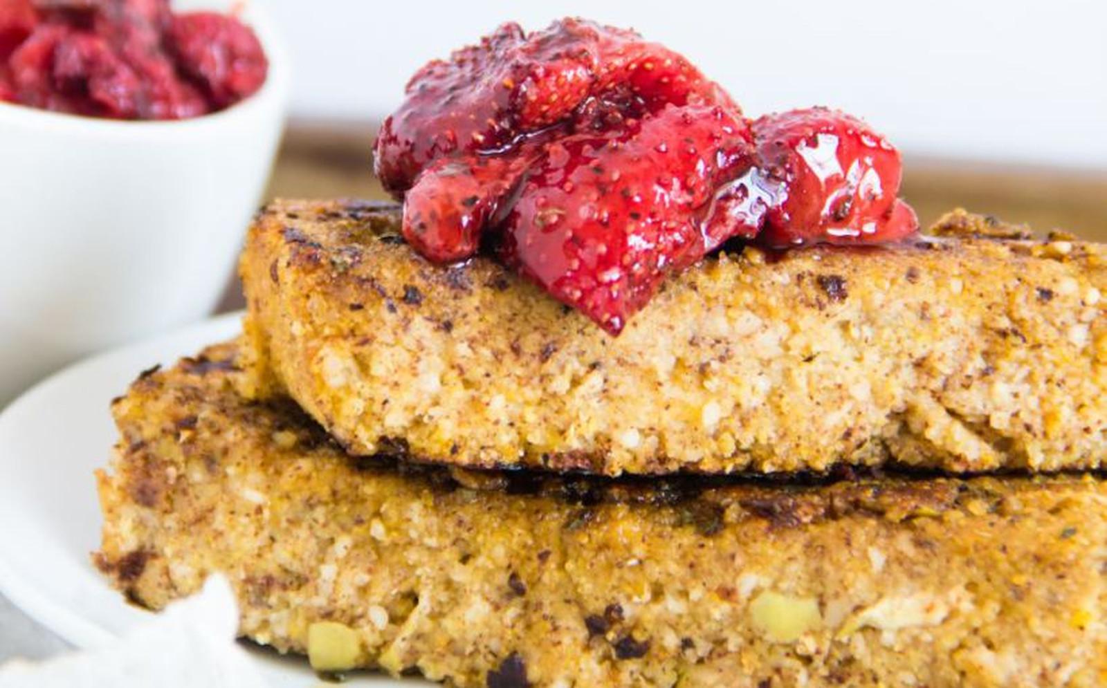 Apple Cornbread French Toast Cake With Roasted Strawberries [Vegan, Gluten-Free]