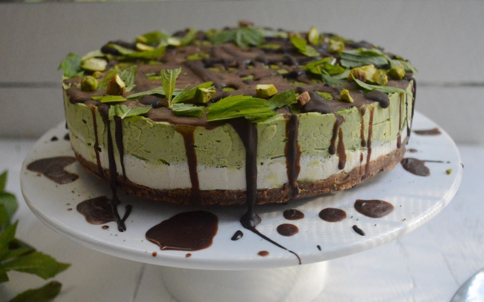 Matcha Green Tea and Mint Cheesecake [Vegan, Raw, Gluten-Free]