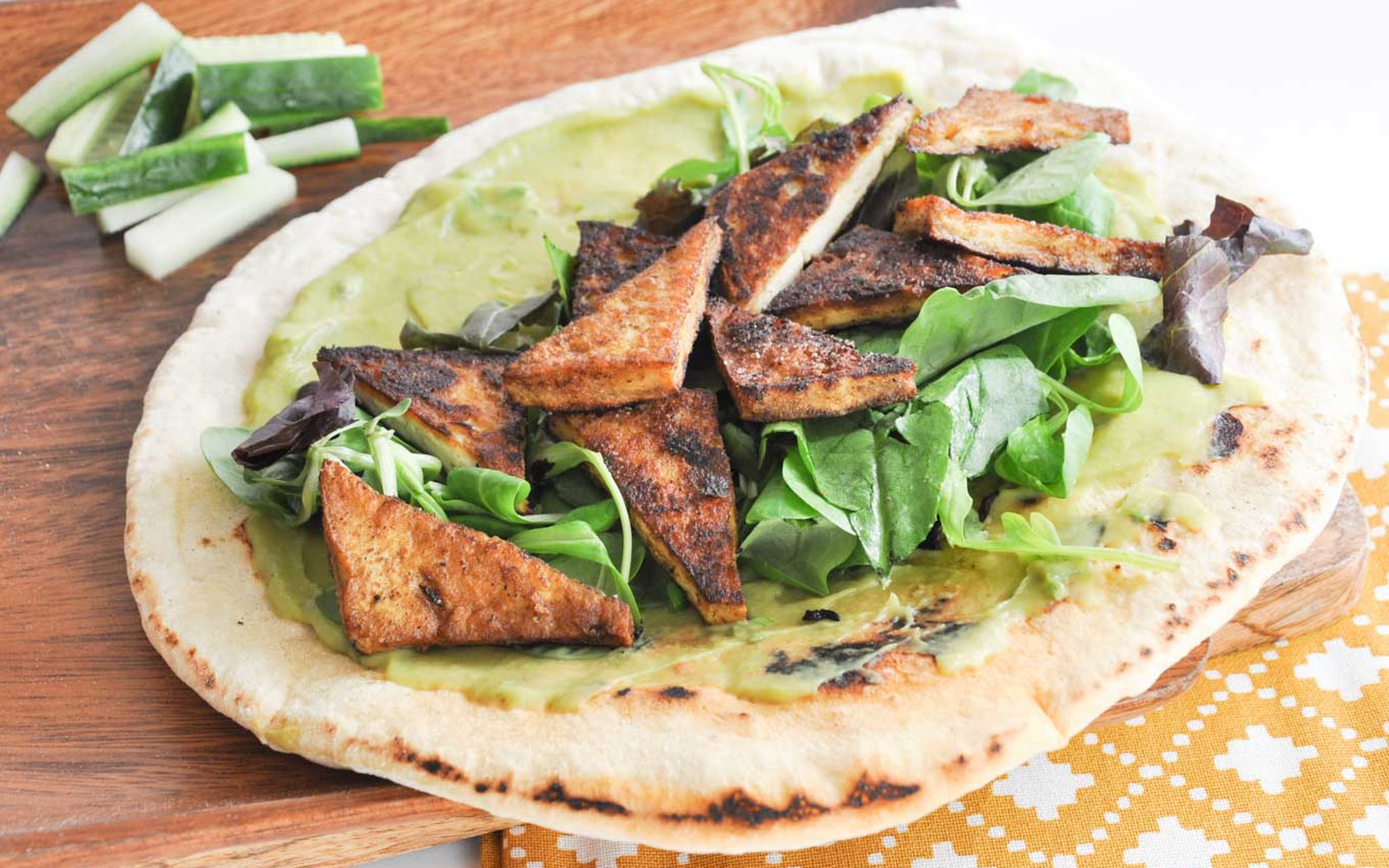 Crispy Curry Tofu Wrap With Homemade Tortillas and Avocado Mayo [Vegan]
