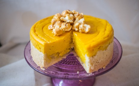 Apple Pumpkin Cheesecake with Glazed Peanut Butter Popcorn