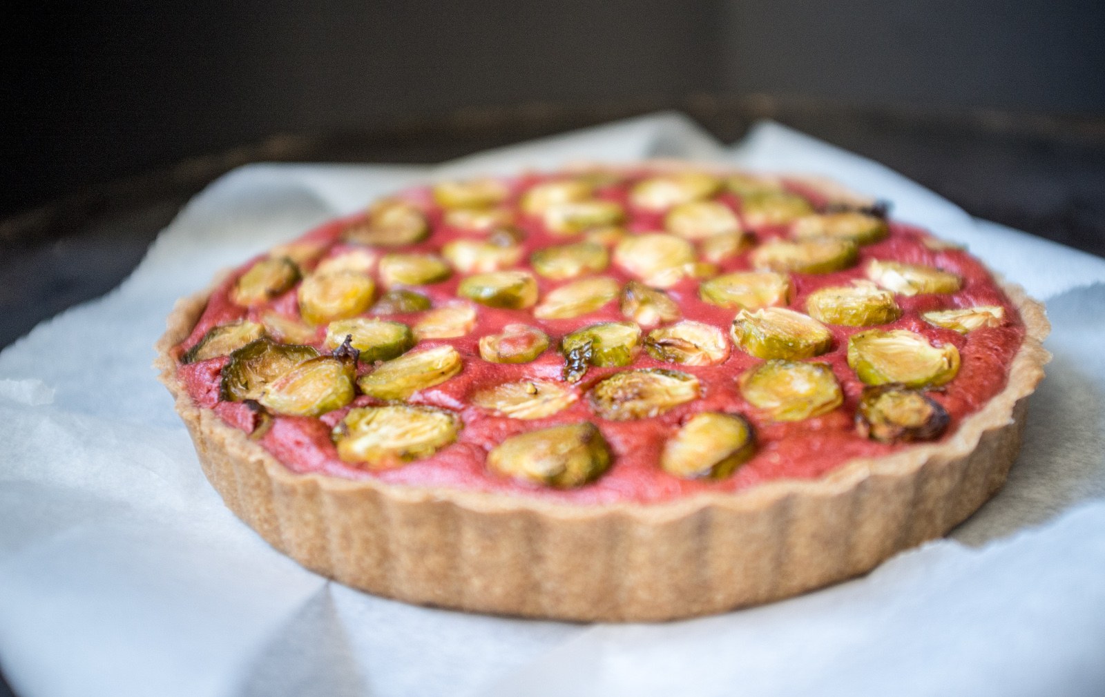 roasted brussels srpouts and beet tart