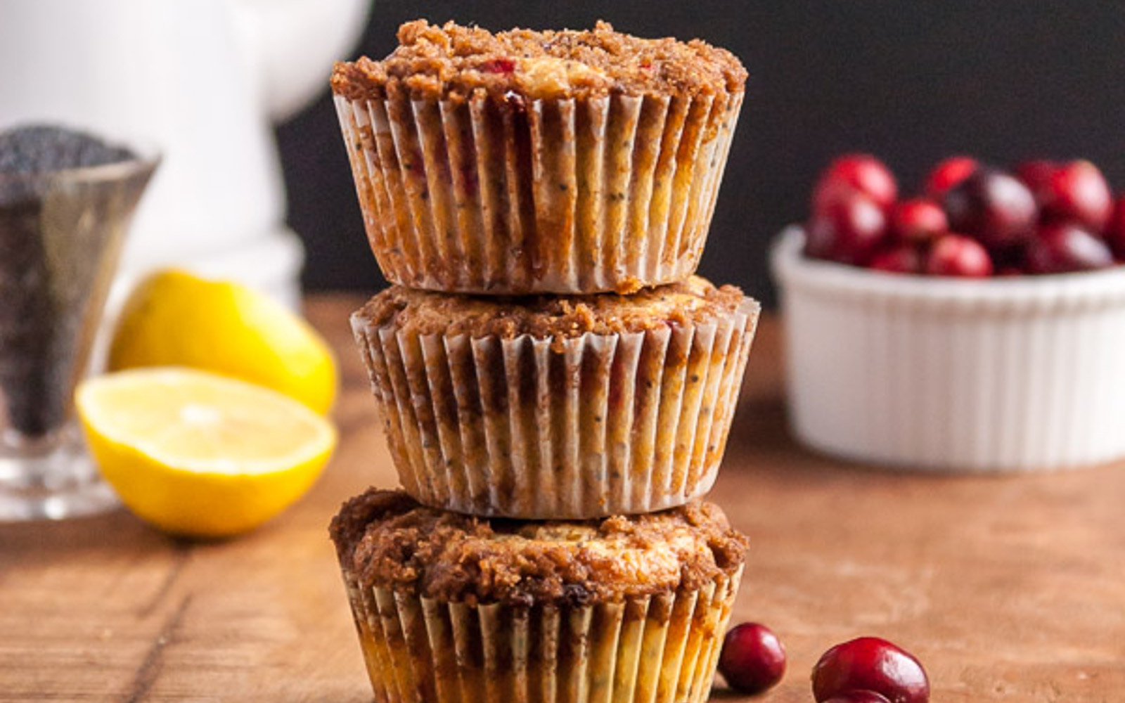 Cranberry Lemon Poppy Seed Muffins