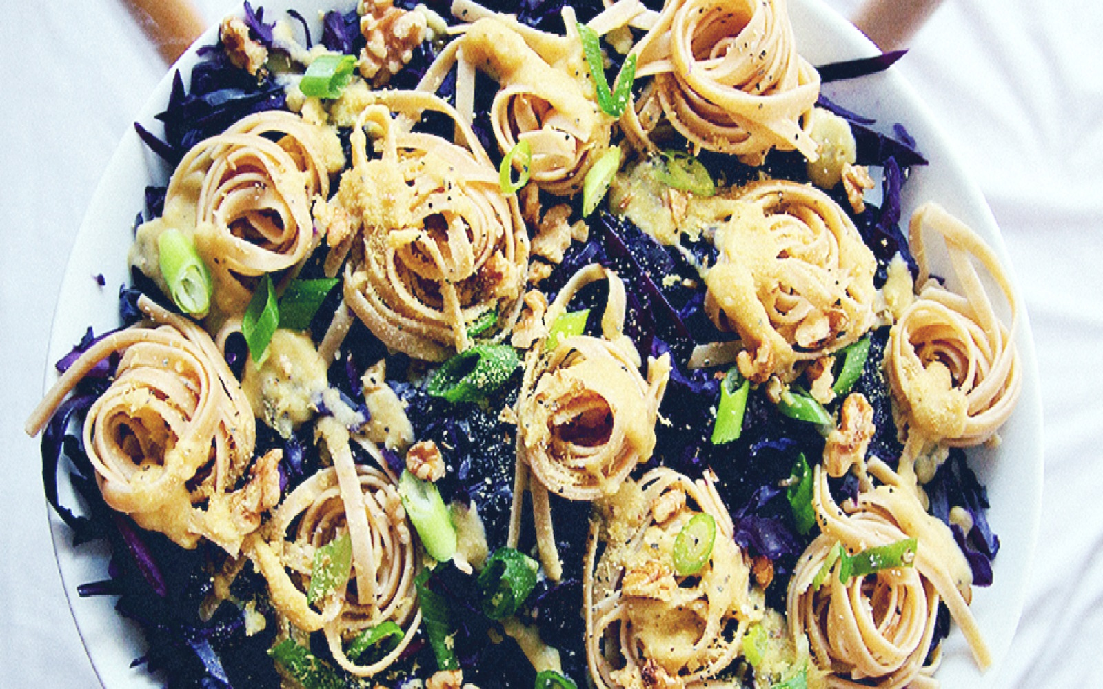 Fettuccine With Garlicky Purple Cabbage and Cheesy Chickpea Sauce