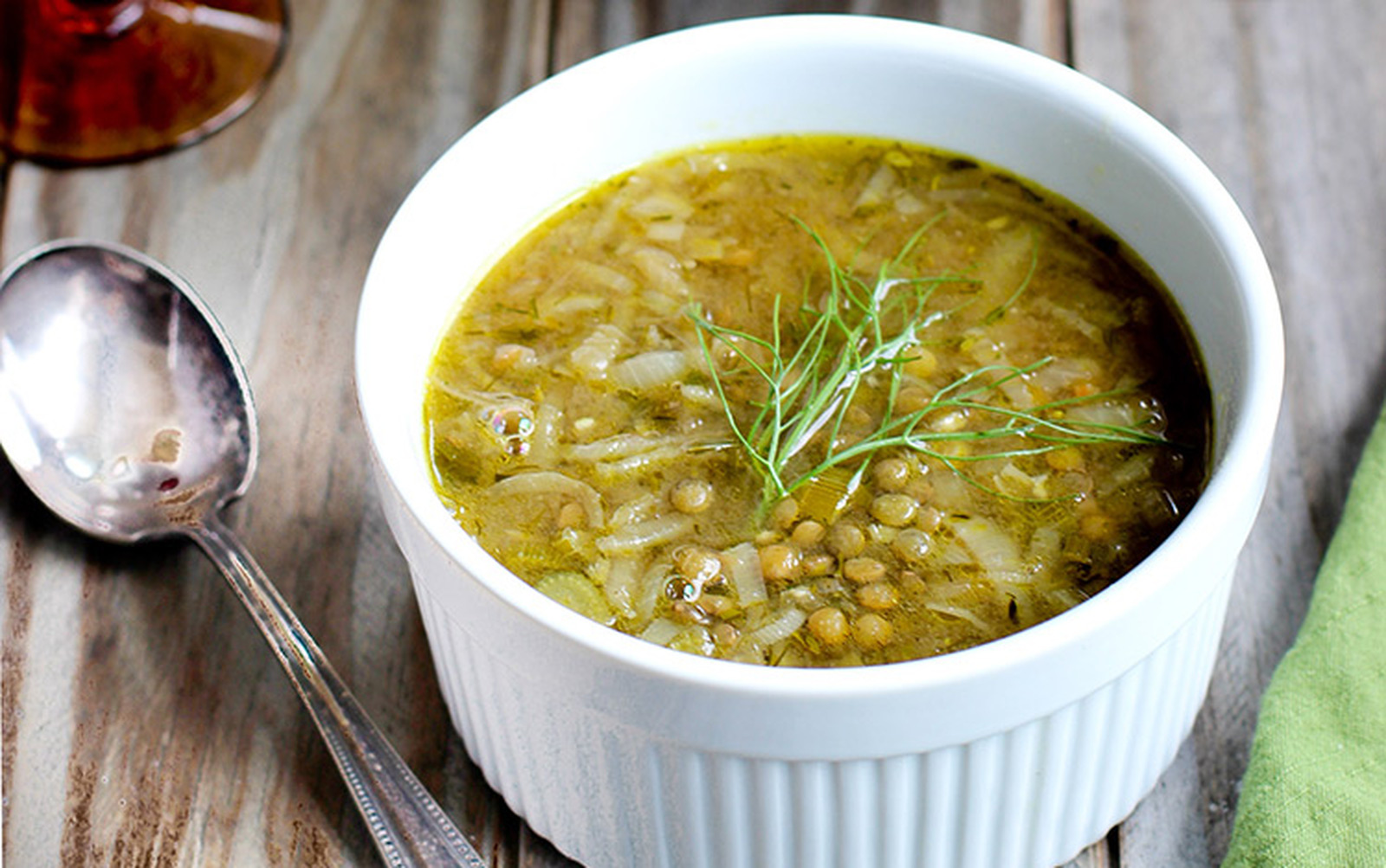 French Onion, Fennel, and Green Lentil Soup [Vegan, Gluten-Free]