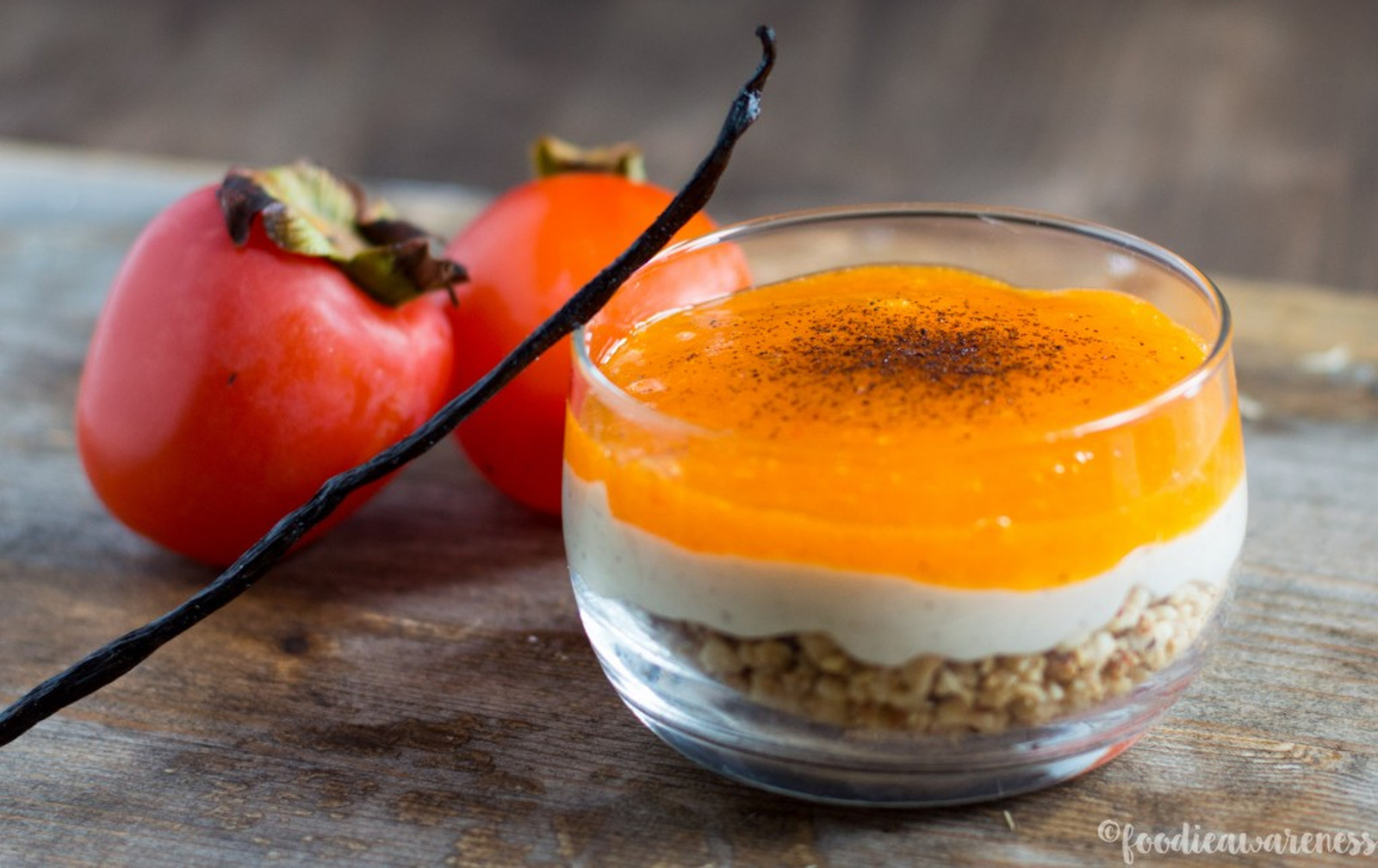 Persimmon Parfait With Hazelnut Crunch