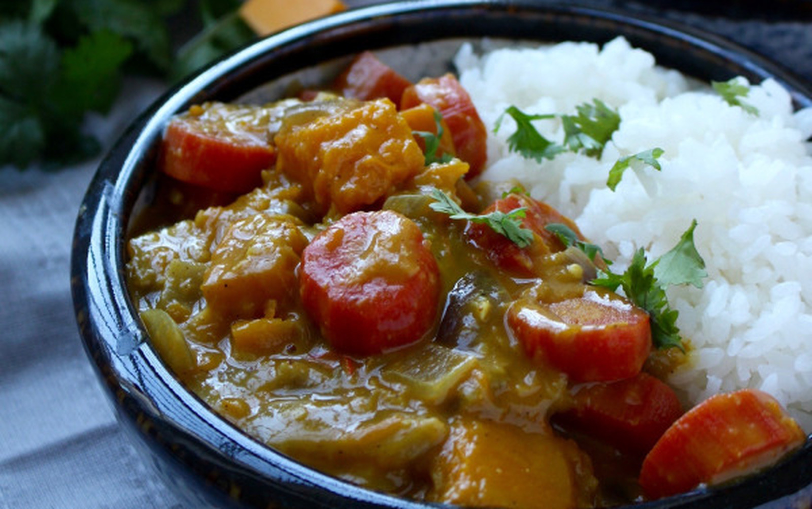 Vegan and gluten-free Quick Pumpkin and Carrot Curry