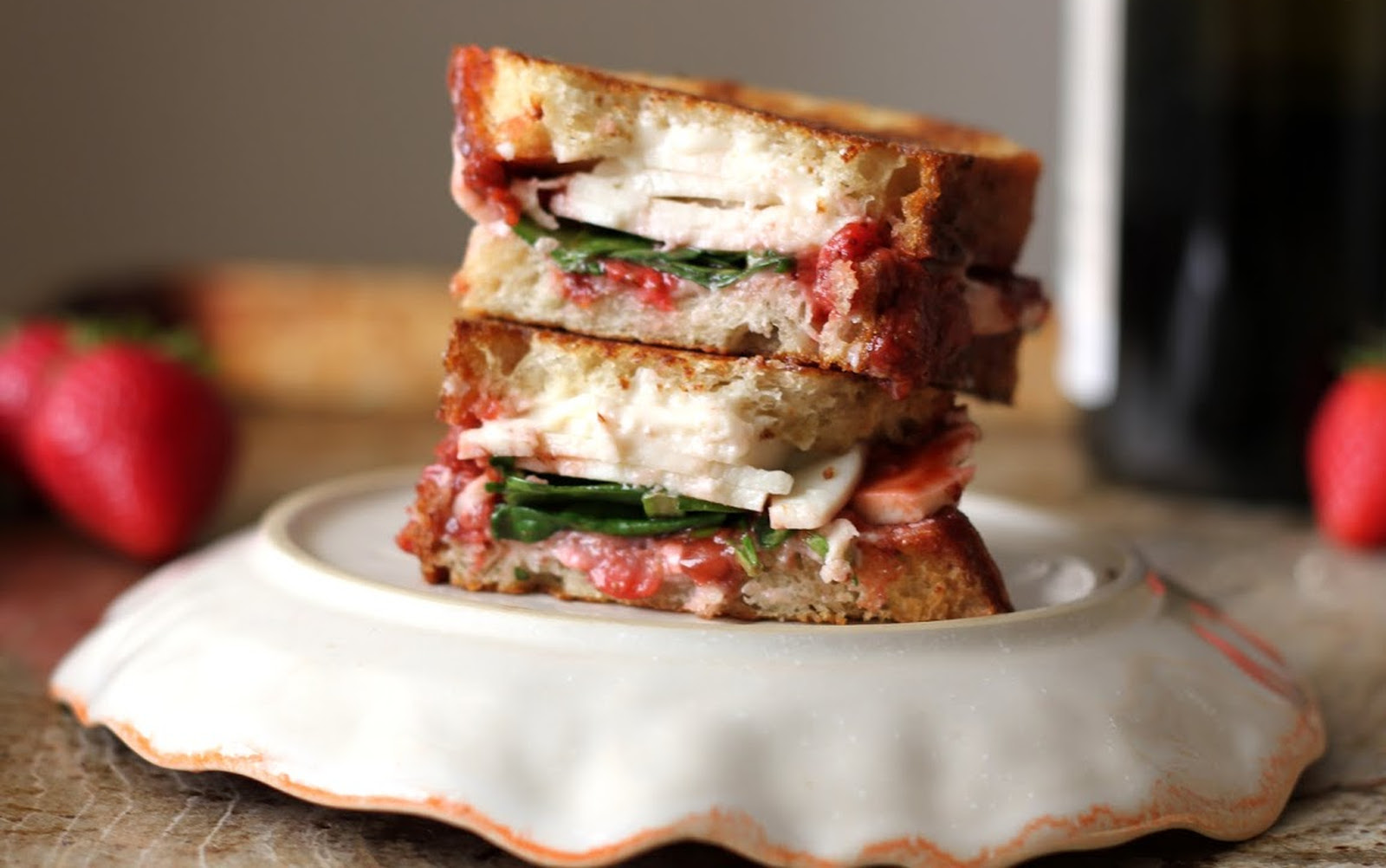Fancy Strawberry Balsamic Grilled Cheese [Vegan]