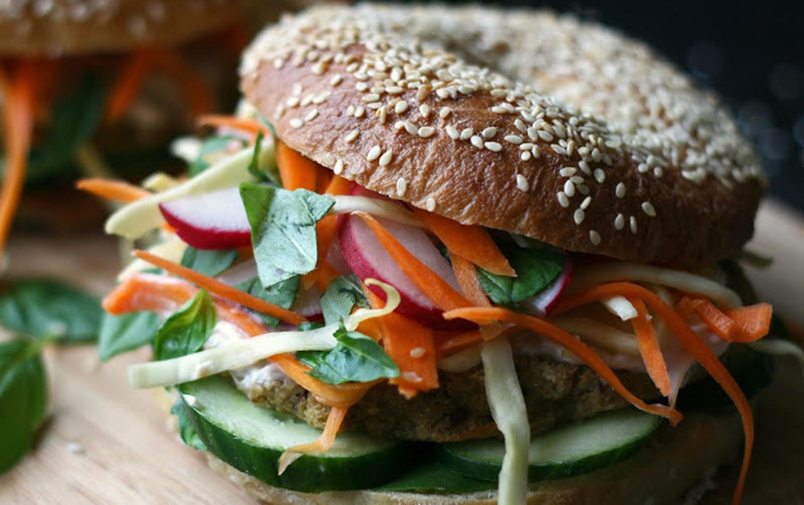 Bánh Mi Bagels With Chickpea Cauliflower Patties [Vegan]