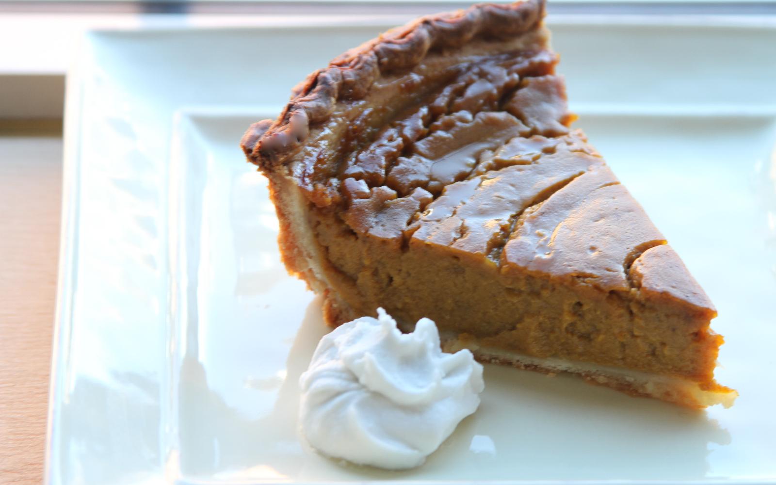Pumpkin Pie With Coconut Rum Whipped Cream [Vegan]