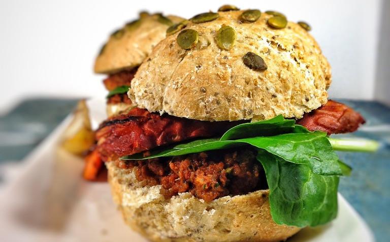 Tempeh Burger With Sun-Dried Tomato Pesto [Vegan]