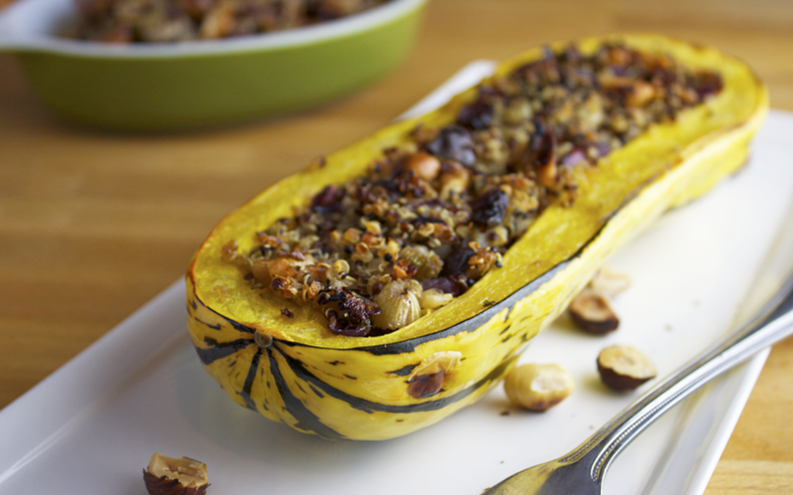 Nutty Quinoa Stuffed Delicata Squash vegan gluten free
